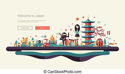 appartamento, bandiera, testata, viaggiare, illustrazione, simboli, famoso, disegno, asiatico