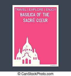 appartamento, basilica, coeur, tipografia, parigi, punto di riferimento, vettore, monumento, opuscolo, sacre, francia, stile