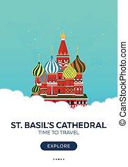 appartamento, basil's, illustration., st., travel., moscow., vettore, cathedral., tempo, russia., poster., viaggiare
