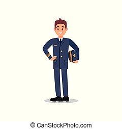 appartamento, bello, capitano, civile, mano., lavoratore, giovane, vettore, aviation., presa a terra, disegno, pilota aeroplano, cappello, face., felice