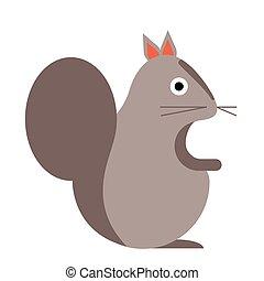 appartamento, bianco, scoiattolo, illustrazione