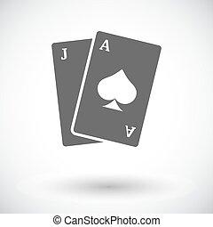 appartamento, blackjack, icona