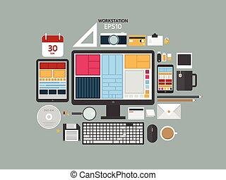 appartamento, caffè, concetto, attrezzo ufficio, moderno, illustrazione, creativo, vettore, disegno, posto lavoro, computer., digitale, oggetti, documents., workspace, workstation, congegni