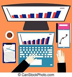 appartamento, caffè, vettore, computer, ufficio affari, laptop, scrivania, graph., monitor, mano, congegno, carta, disegno, posto lavoro, digitale, vista, cima, illustration.