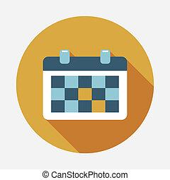 appartamento, calendario, uggia, lungo, icona