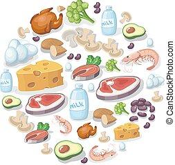 appartamento, carne, icone, prodotti animali, latteria, fondo, proteina vegetale, fonti, illustration.