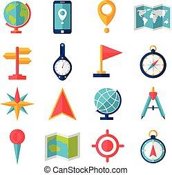 appartamento, cartografia, set, icona