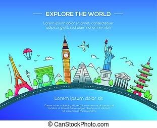appartamento, cartolina, illustrazione, famoso, disegno, punto di riferimento, mondo
