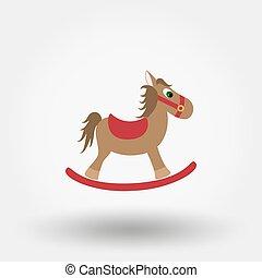 appartamento, cavallo a dondolo, toy., icon.