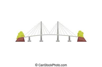 appartamento, cavo, metallo, lungo, grande, river., vettore, incrocio, sospensione, costruzione, transportation., bridge., struttura, icona