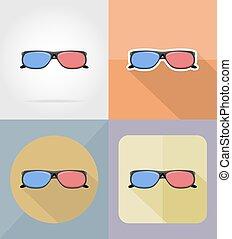 appartamento, cinema, icone, illustrazione, vettore, occhiali