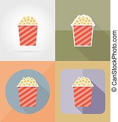 appartamento, cinema, icone, illustrazione, vettore, popcorn