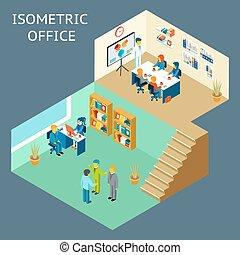 appartamento, circa, ufficio, work., isometrico, 3d, personale