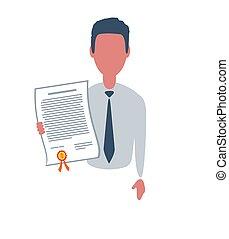 appartamento, clerk., o, stile, isolato, trendy, carattere, uomo affari, affari, concept., semplice, maschio, bianco, fondo., illustration., oggetti