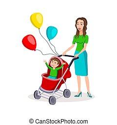 appartamento, colorato, illustrazione, moderno, composizione, characters., carrello, vettore, disegno, madre, bambino, cartone animato, felice