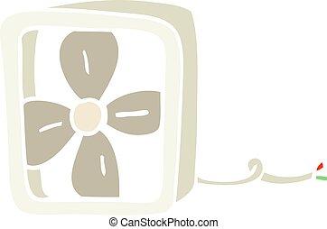 appartamento, colore elettrico, illustrazione, ventilatore, cartone animato