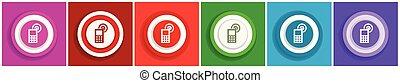 appartamento, colorito, web, set, telefono, domande, vettore, disegno, mobile, 6, illustrazioni, opzioni, icona