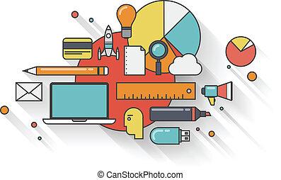 appartamento, concetto, affari moderni, illustrazione