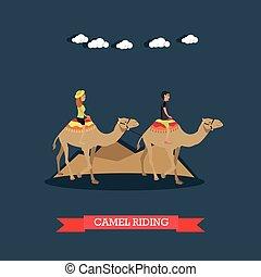 appartamento, concetto, cammello, egitto, illustrazione, vettore, sentiero per cavalcate, viaggio