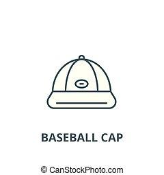 appartamento, concetto, contorno, segno, berretto, illustrazione, simbolo, baseball, vector., icona, linea