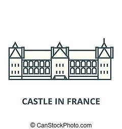 appartamento, concetto, contorno, segno, illustrazione, francia, vector., icona, castello, simbolo, linea