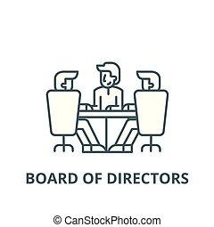 appartamento, concetto, contorno, segno, illustrazione, simbolo, direttori, asse, vector., icona, linea, riunione