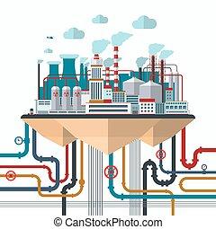 appartamento, concetto, disegno, natura, inquinamento