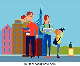 appartamento, concetto, famiglia, vettore, disegno, viaggiare