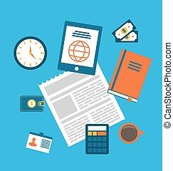 appartamento, concetto, icone ufficio, moderno, creativo, posto lavoro, workspace
