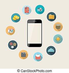 appartamento, concetto, illustration., mobile, apps, telefono, vettore, disegno