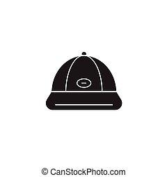 appartamento, concetto, illustrazione, berretto, segno, vettore, nero, baseball, icon.