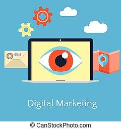 appartamento, concetto, marketing, astratto, illustrazione, vettore, digitale