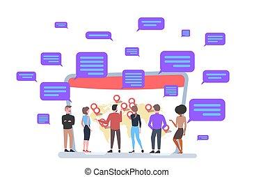 appartamento, concetto, messaging, ciarlare, mappa, comunicazione, laptop, globale, businesspeople, dall'aspetto, lunghezza, pieno, posizione, linea, schermo, mondo, orizzontale, geo, app, etichette