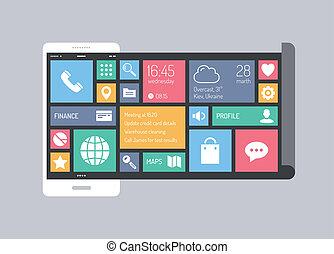 appartamento, concetto, mobile, moderno, interfaccia utente
