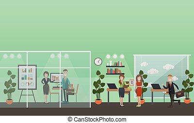 appartamento, concetto, ufficio affari, persone, illustrazione, vettore