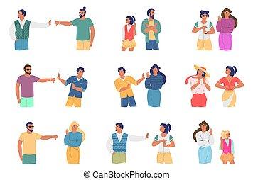 appartamento, conflitto, relazione, vettore, illustration., cartone animato, persone, problemi, friends., set, carattere, famiglia