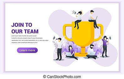 appartamento, consoci, vettore, grande, riuscito, trofeo, members., concept., web, bandiera, unire, illustrazione, work., squadra, affari, dall'aspetto, nuovo, persone, nostro