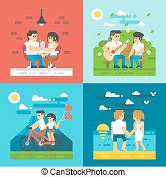 appartamento, coppia, datazione, disegno, set
