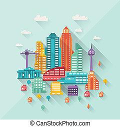 appartamento, costruzioni, illustrazione, disegno, cityscape, style.