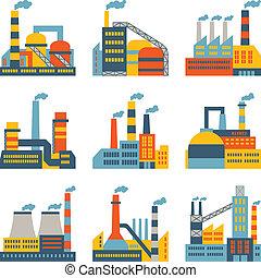 appartamento, costruzioni, industriale, icone, fabbrica, progetto serie, style.