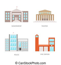 appartamento, costruzioni, set, polizia, urbano, fuoco, governo, isolato, teatro, costruzione, vettore, illustrazione, fondo, station., bianco, eps10., style.