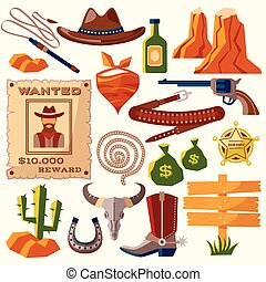 appartamento, cowboy, icone