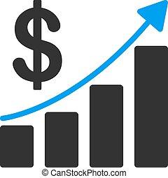 appartamento, crescita, vendite, icona