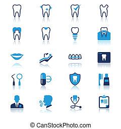 appartamento, dentale, riflessione, icone