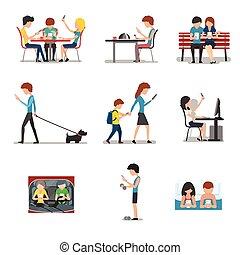 appartamento, differente, concetto, persone, mobile, media, sociale, uso, congegno, vettore, internet, azione, dipendenza, stile, smartphone.