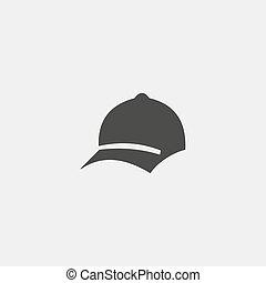 appartamento, disegno, eps10, berretto, illustrazione, color., vettore, nero, baseball, icona