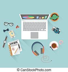 appartamento, disegno, illustrazione, ufficio, workspace.