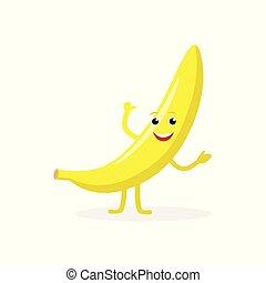 appartamento, divertente, cibo sano, carattere, isolato, illustrazione, banana, fondo., vettore, giallo, bianco, mascotte, cartone animato, design.