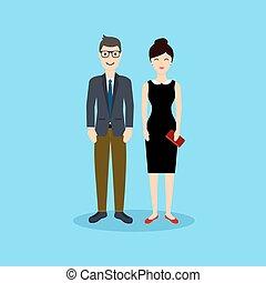 appartamento, donna, illustration., affari, vettore, uomo, design.