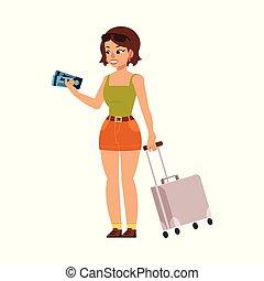 appartamento, donna, turista, viaggiare borsa, vettore, valigia
